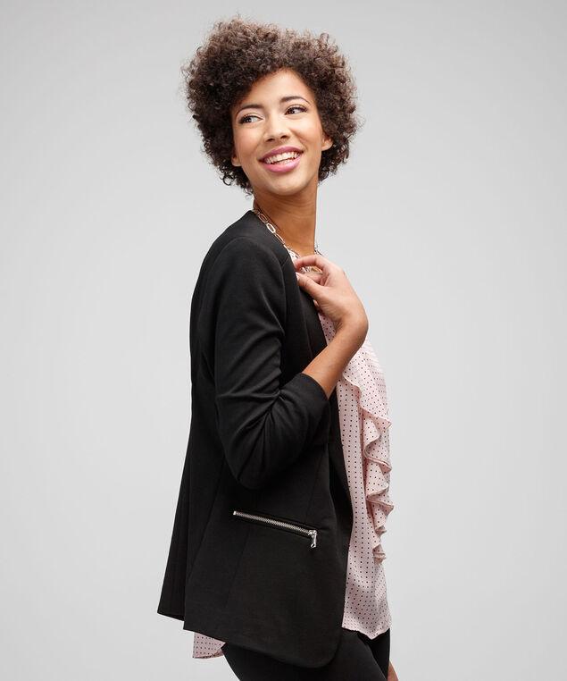 Knit Ruched Zipper Blazer, Black, hi-res