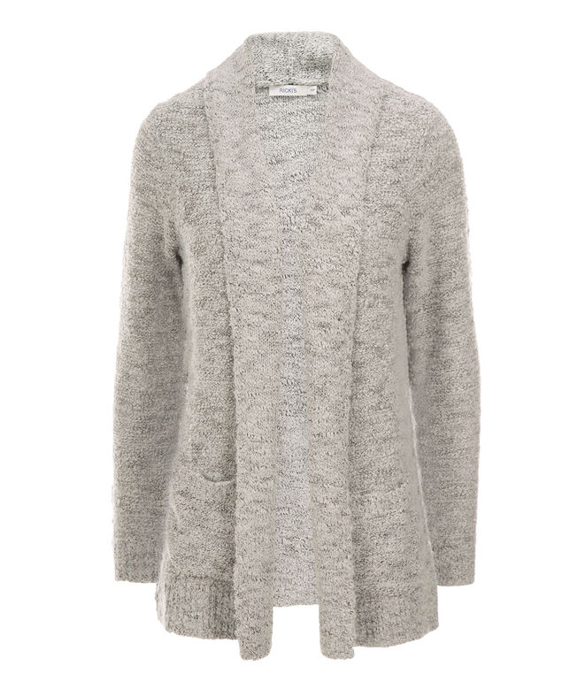 Cozy Boucle Cardigan, Light Grey, hi-res
