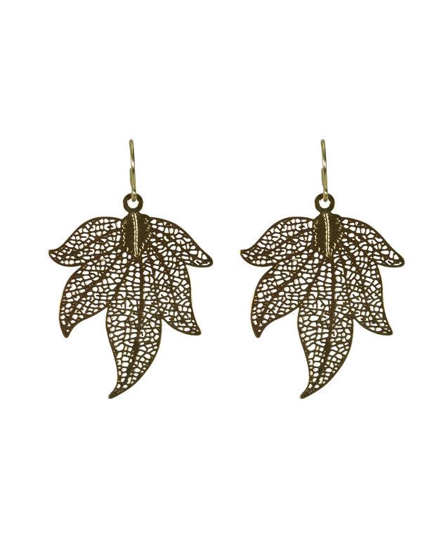 Gold Leaf Earring, Antique Gold, hi-res