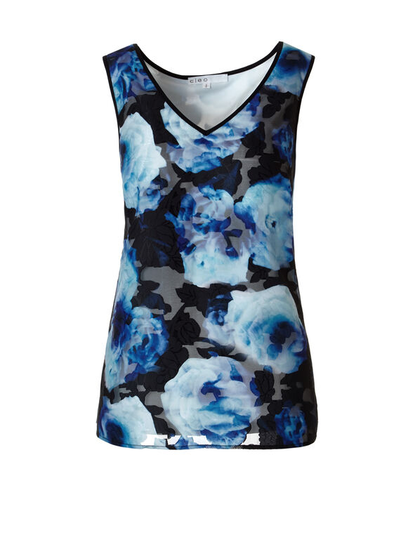 Royal Blue Burnout Sleeveless Blouse, Royal Blue, hi-res