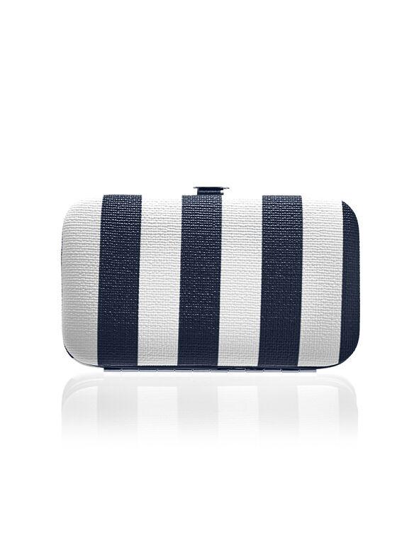 Navy Stripe Manicure Set, White/Navy, hi-res