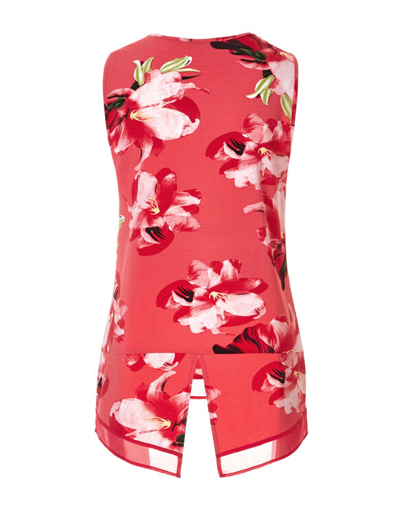 Coral Split Back Top, Coral/Peony/Yellow/Green, hi-res