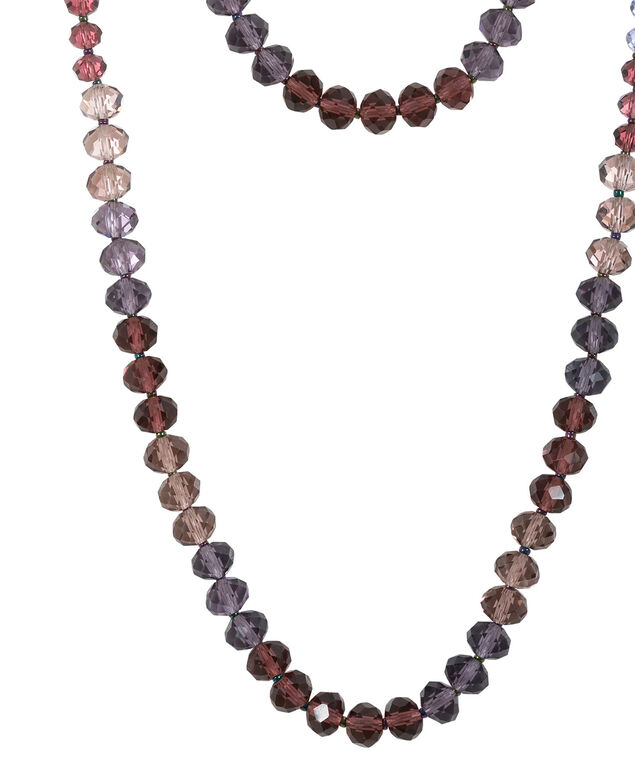 Plum Faceted Bead Necklace, Plum/Burnished Silver, hi-res