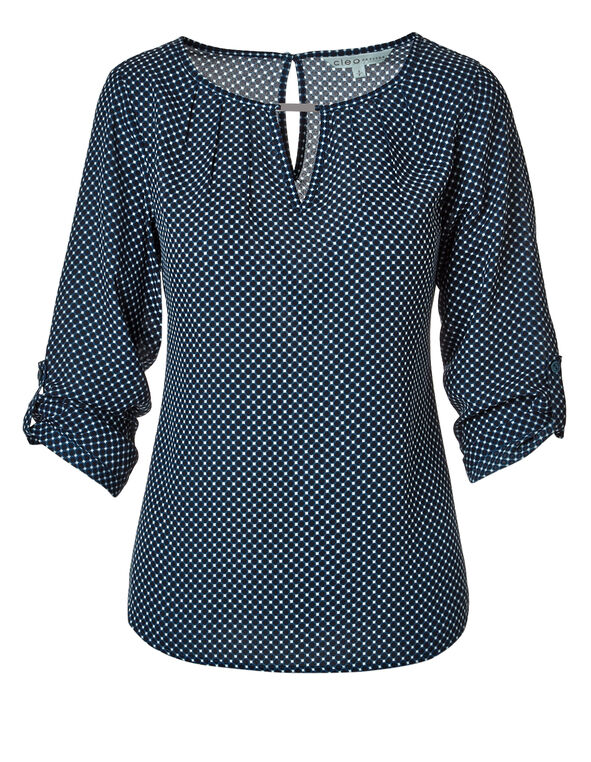 Navy Print Keyhole Blouse, Navy/Dark Tuquoise/White, hi-res