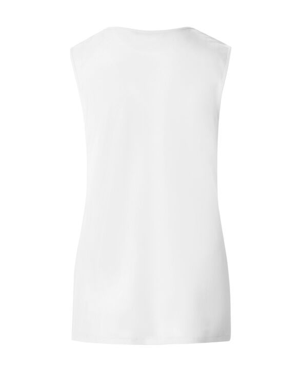 White Sleeveless Chain Top, White, hi-res