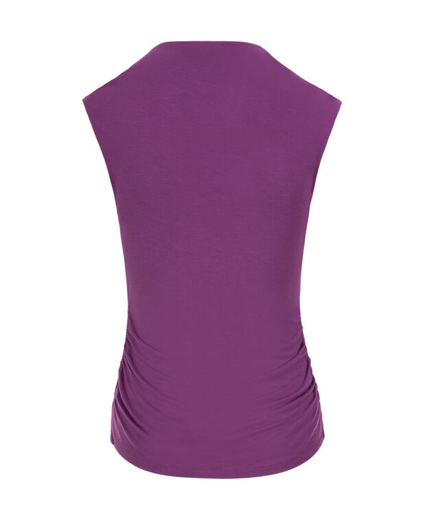 V-neck Ruched Top, Purple, hi-res