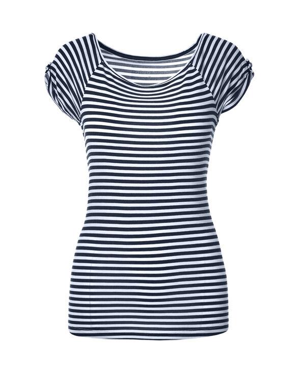Navy Stripe Button Sleeve Tee, White/Navy, hi-res