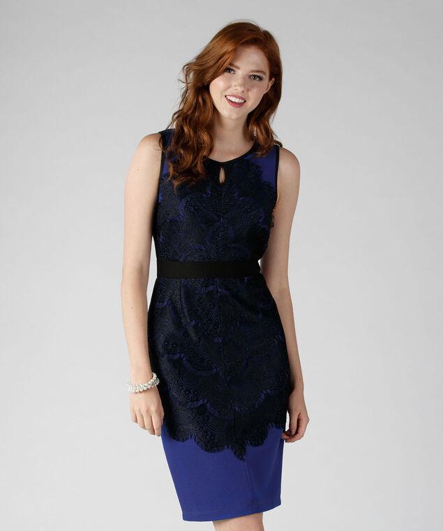 Lace Sheath Dress, Cobalt/Black, hi-res