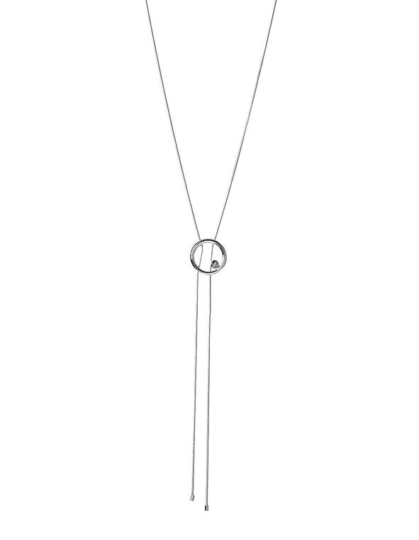 Silver Adjustable Circle Necklace, Silver, hi-res