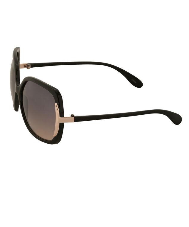 Square Lens Detail Sunglasses, Black/Gold, hi-res