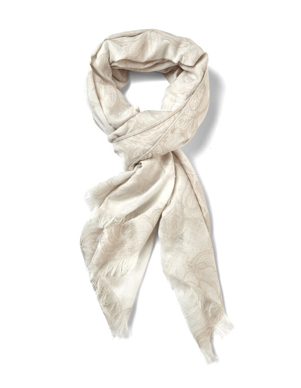 Floral Jacquard Scarf, Stone/Ivory, hi-res