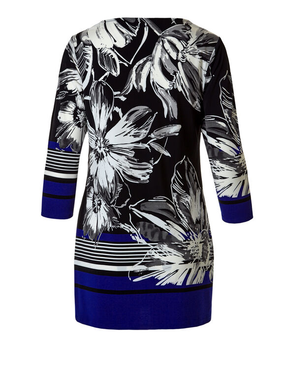 Floral Striped Ivory Print Tunic, Royal Blue, hi-res