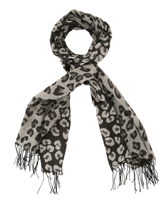 Animal Jacquard Blanket Scarf, Black/Grey, hi-res