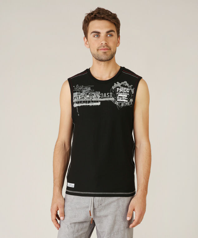 crew neck graphic tank - wb, BLACK, hi-res