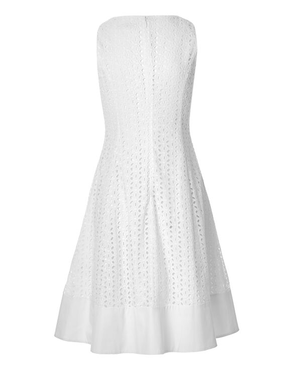 White Eyelet Fit and Flare Dress, White, hi-res
