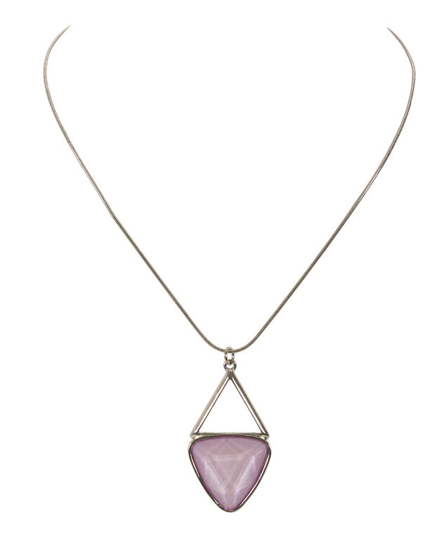 Triangle Stone Necklace, Violet/Rhodium, hi-res