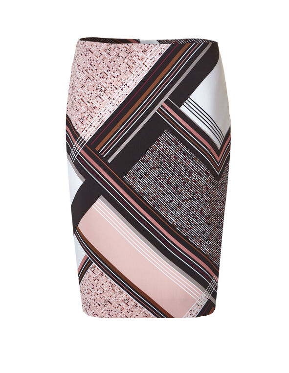 Abstract Stripe Pencil Skirt, Ivory/Peony/Mushroom/Black, hi-res
