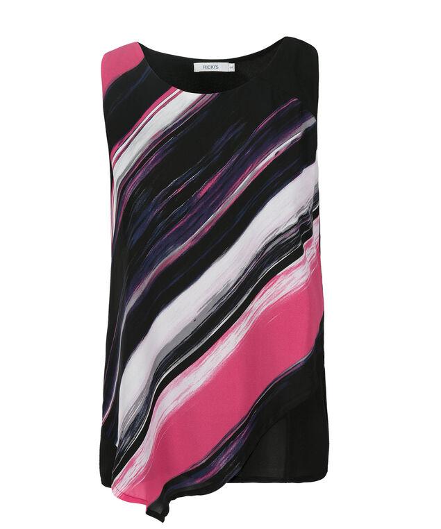 Asymmetric Blouse Tank, Pink Print, hi-res
