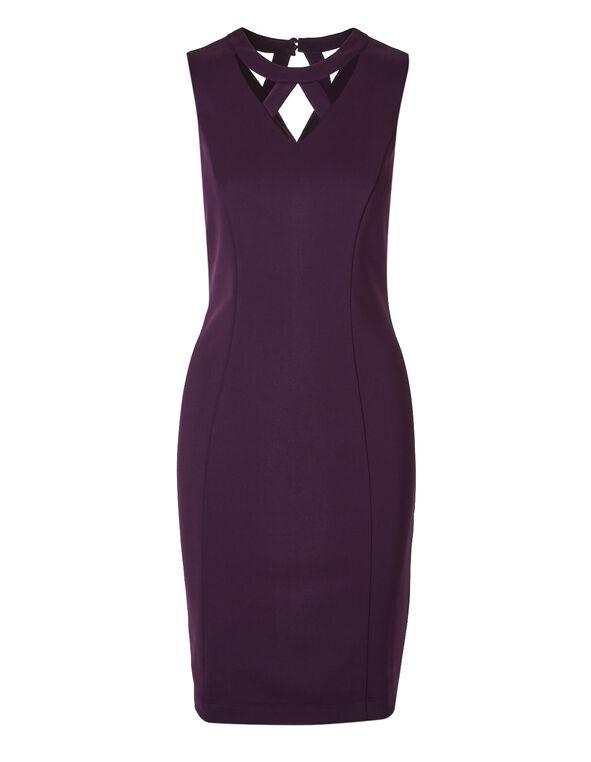 Plum Cutout Neckline Shift Dress, Deep Plum, hi-res