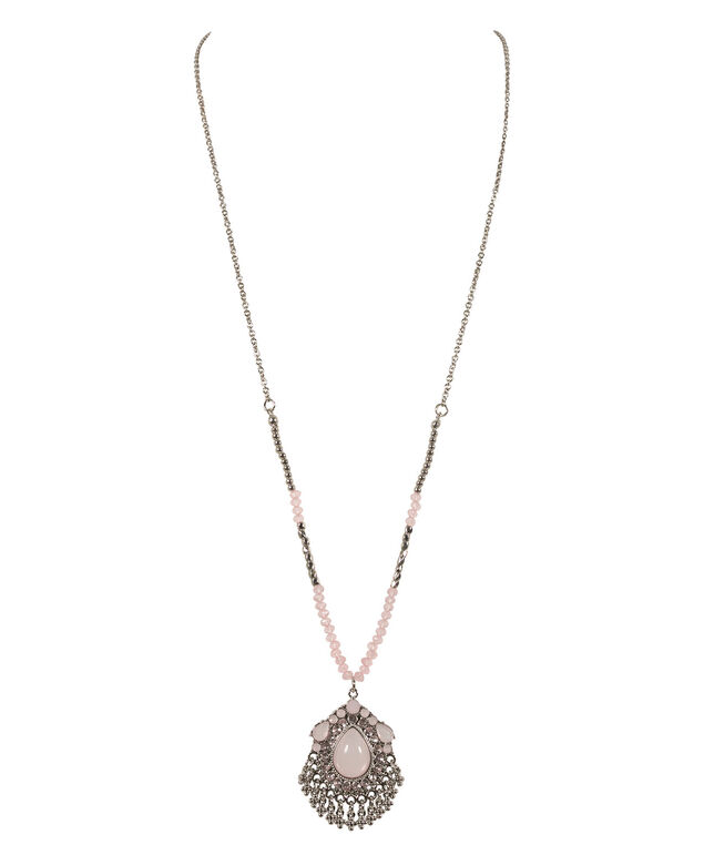 Milky Stone Medallion Necklace, Teal/Rhodium, hi-res