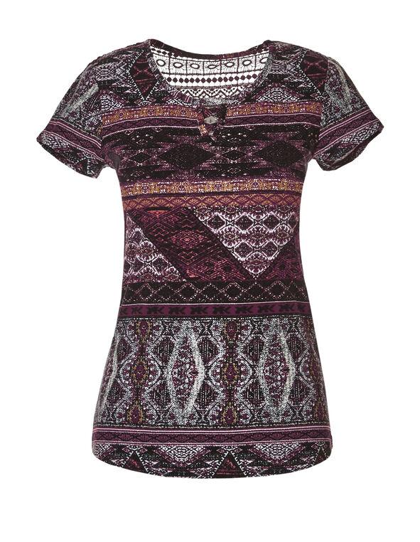 Patchwork Crisscross Crochet Tee, Stone/Bordeaux/Saffron, hi-res