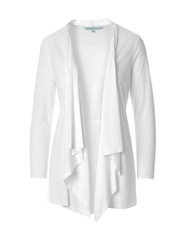 White Drape Cardigan, White, hi-res