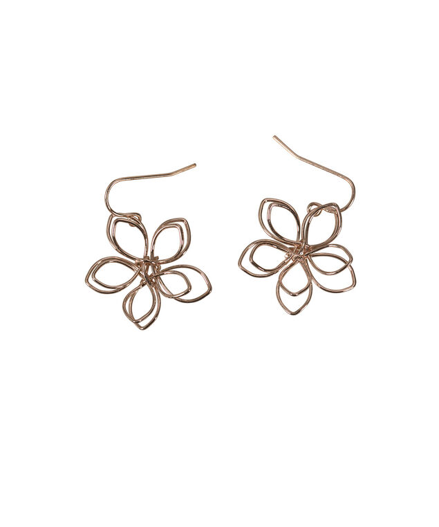 Floral Wire Earring, Rose Gold, hi-res