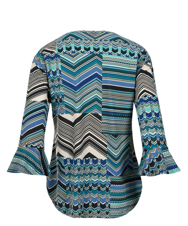 Bell Sleeve Top, Turquoise Print, hi-res