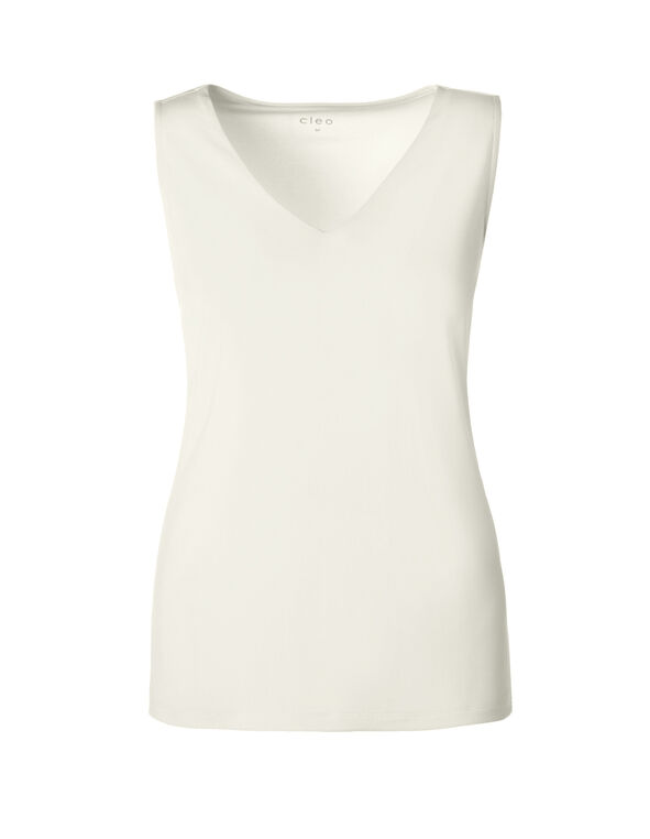 Ivory V-Neck Essential Top, Ivory, hi-res