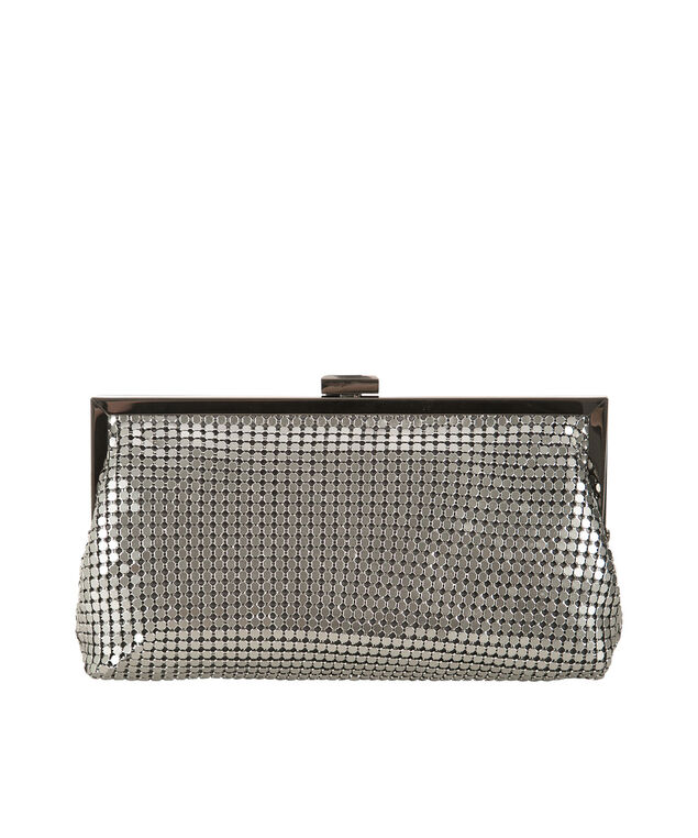 Metallic Mesh Clutch, Silver, hi-res