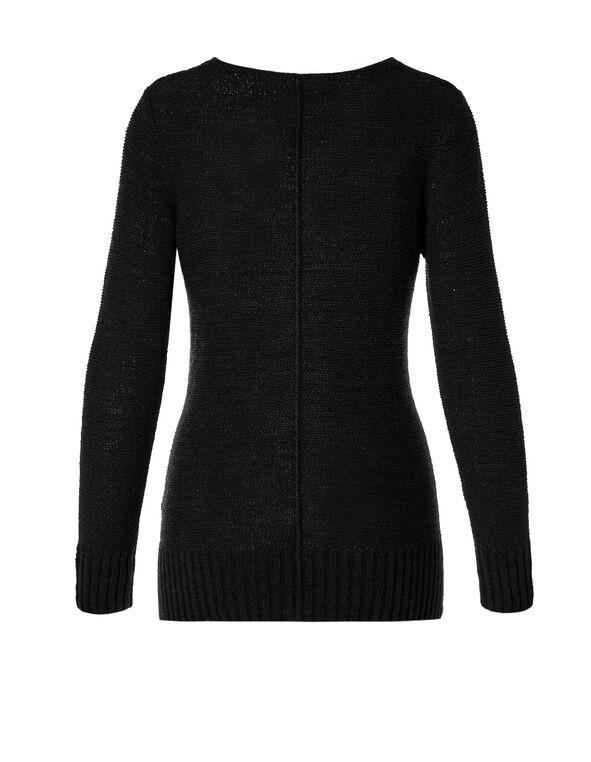 Black V-Neck Sweater, Black, hi-res