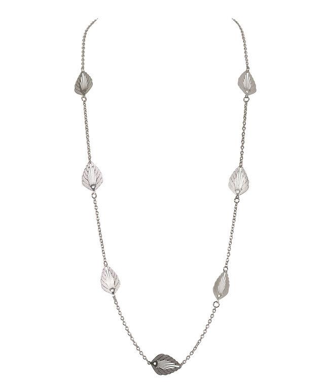 Stationed Etched Leaf Necklace, Rhodium, hi-res