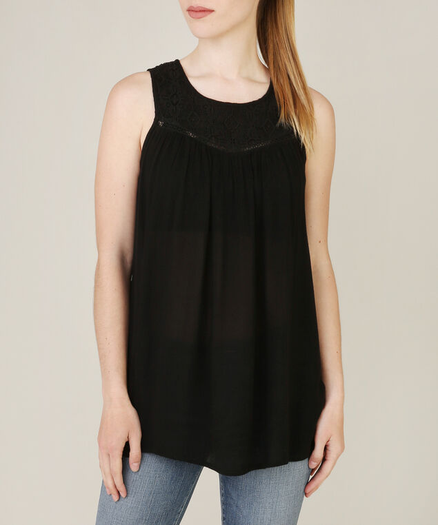 lace yoke top, BLACK, hi-res