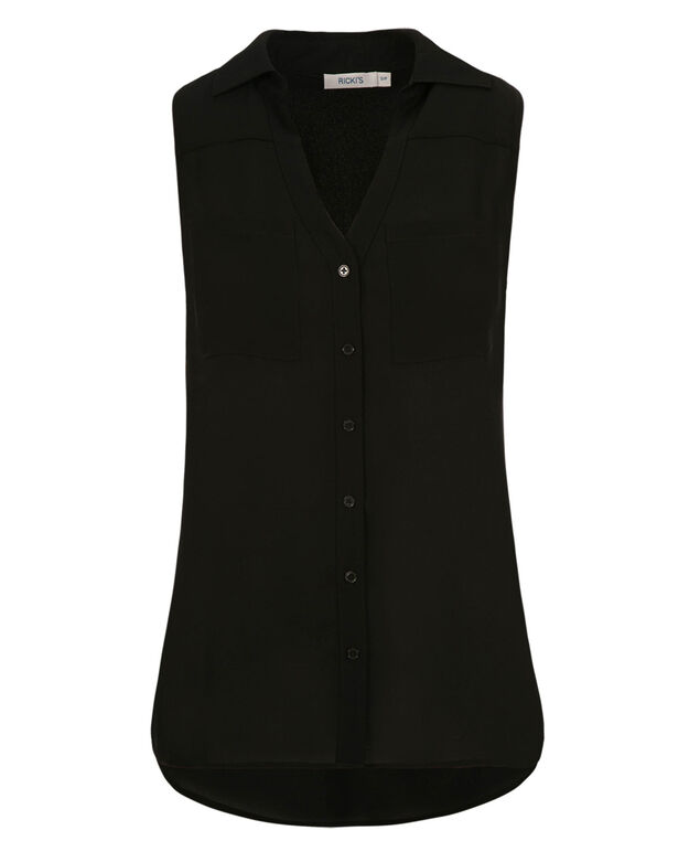 Collared Shirt Tank, Black, hi-res