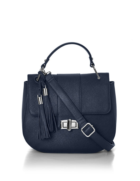 Navy Tassel Saddle Bag, Navy, hi-res