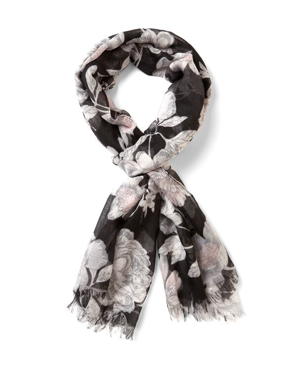Black Floral Oblong Scarf, Black/Soft Pink, hi-res