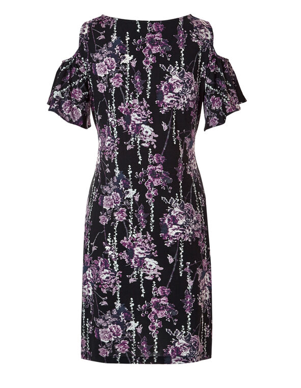 Purple Floral Dress, Black/Purple/White/Tangled Plum, hi-res