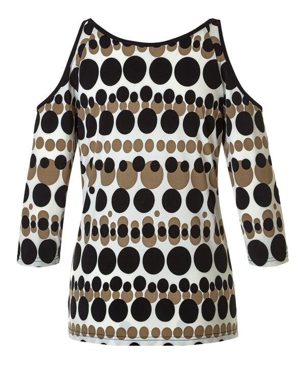 Dotted Cold Shoulder Top, Ivory/Biscuit/Black, hi-res
