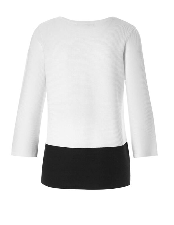 Ottoman Stitch Sweater, White/Black, hi-res