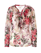 Floral Ruffle Peasant Blouse, Ivory/Soft Pink, hi-res