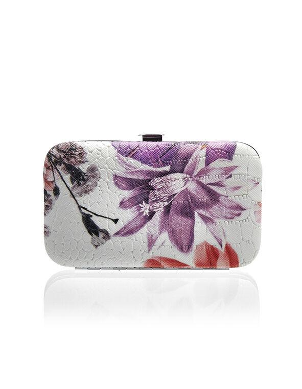 Purple Floral Manicure Set, Purple/White, hi-res