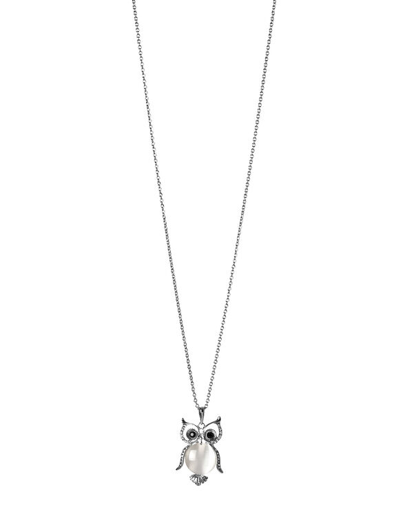 Owl Cat Eye Necklace, Silver/Ivory, hi-res