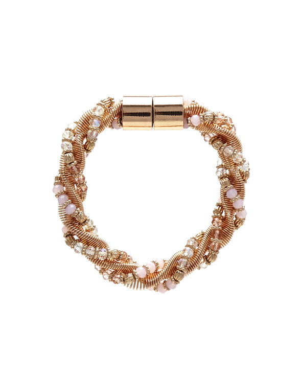 Pink Rose Gold Twist Bracelet, Rose Gold/Pink, hi-res