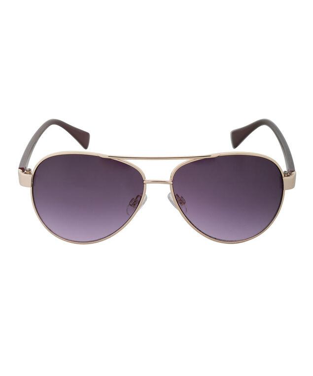 Metallic Arm Aviator Sunglasses, Plum/Gold, hi-res