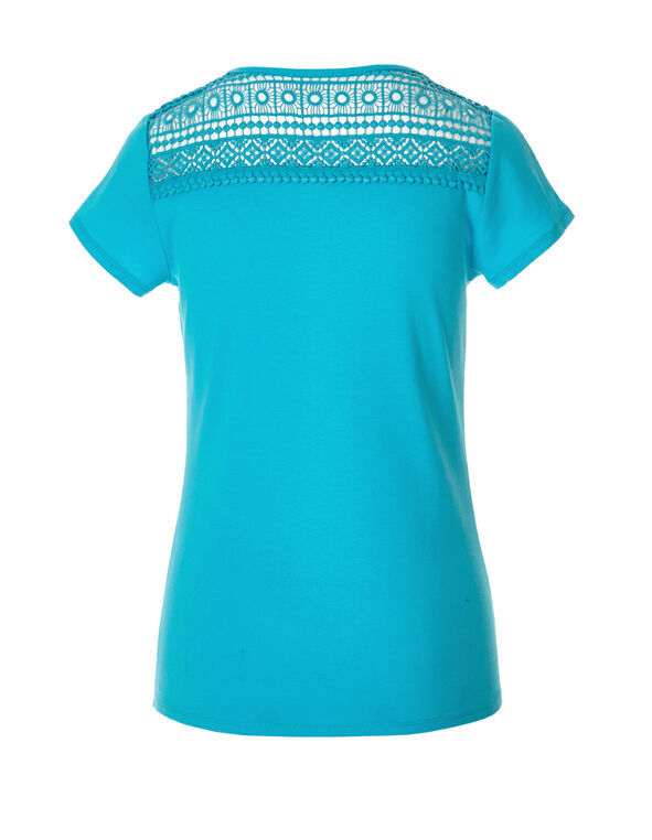 Turquoise Crisscross Crochet Tee, Light Turquoise, hi-res