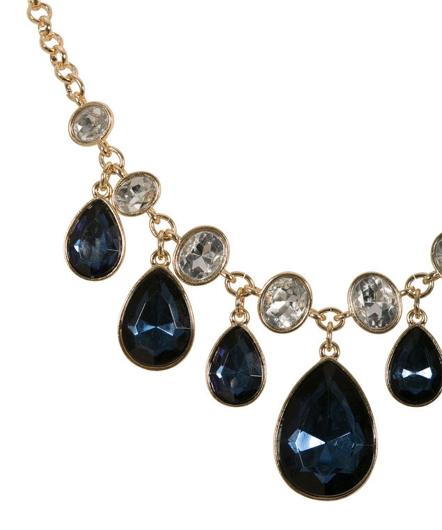 Crystal Teardrop Statement Necklace, Sapphire/Soft Gold, hi-res