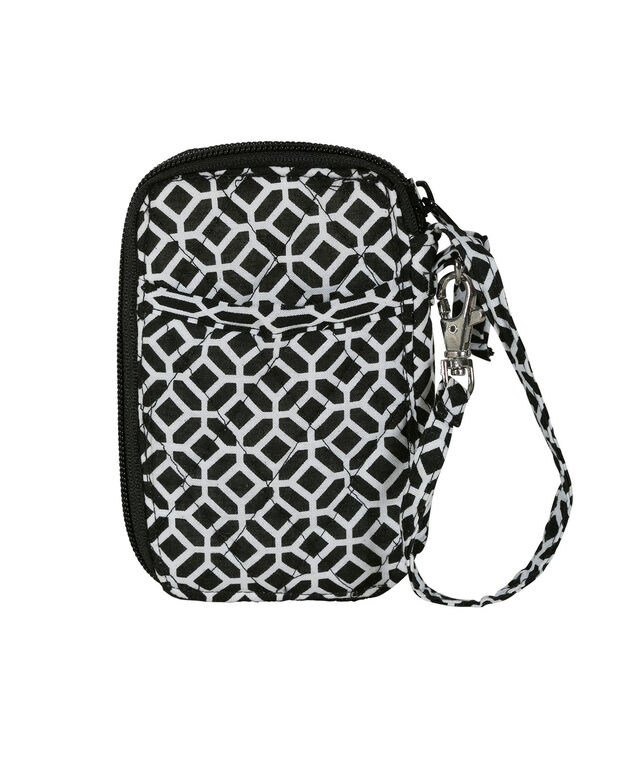 Quilted Medallion Compact Wallet, White/Black, hi-res