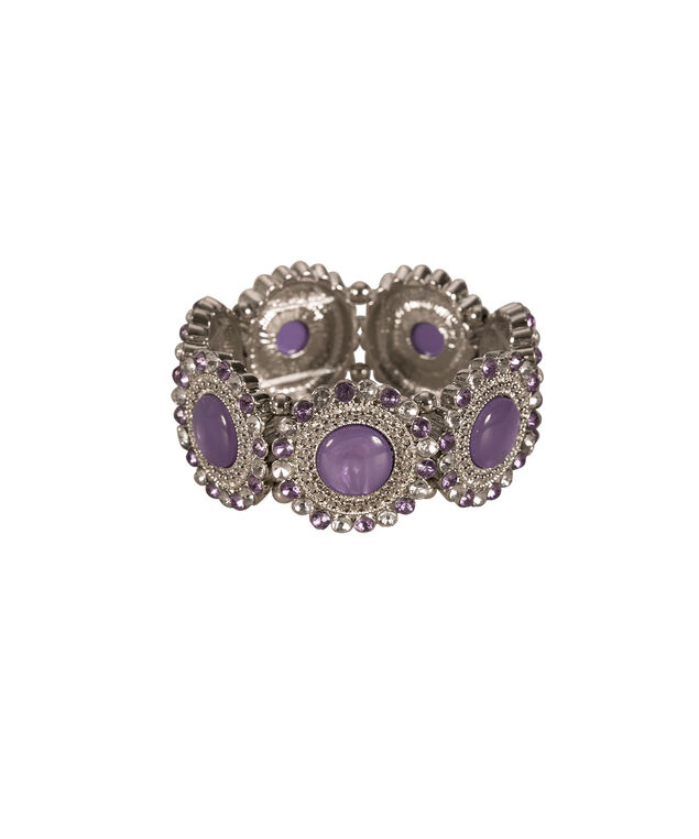 Cateye Crystal Stretch Bracelet, Violet/Rhodium, hi-res