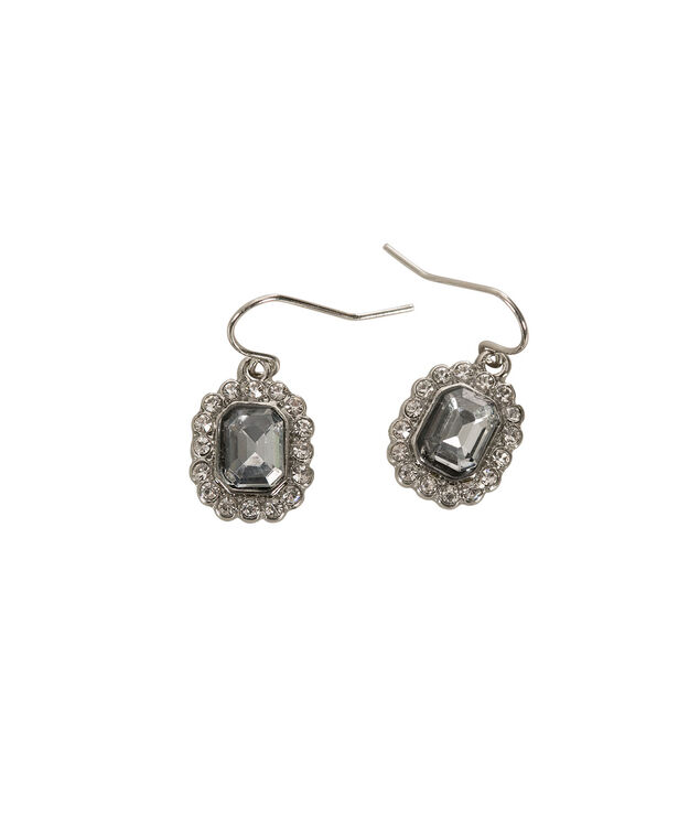 Square Crystal Earring, Grey/Rhodium, hi-res