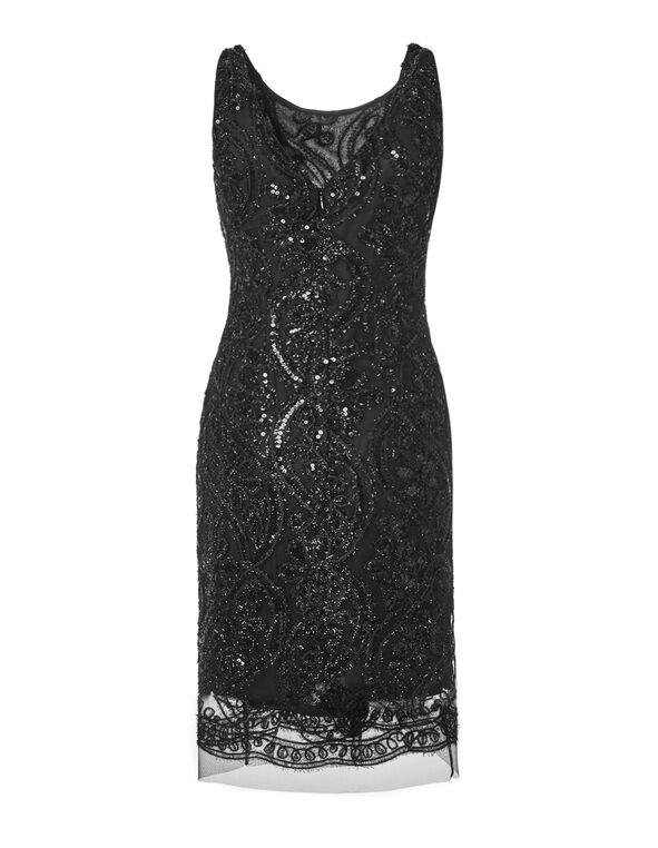 Black Lace Sequin Dress, Black, hi-res
